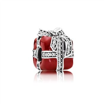 Gift silver charm with clear cubic zirconia and red enamel 791772CZ