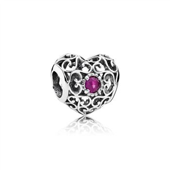 Pandora July Signature Heart Charm, Synthetic Ruby 791784SRU