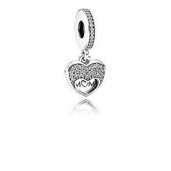 Pandora I Love My Mom Dangle Charm, Clear CZ 792071CZ