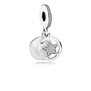 Pandora Friendship Star Dangle Charm, Silver Enamel & Clear CZ 792148EN23