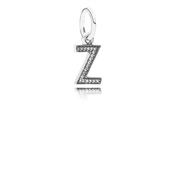 Letter Z Dangle Charm, Clear CZ 791338CZ