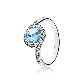 Radiant Embellishment Ring, Sky-Blue Crystal & Clear CZ 190968NBS