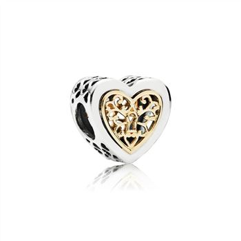 Pandora Heart silver charm with 14k pattern 791740