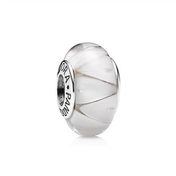 White Looking Glass Charm, Murano Glass 790921
