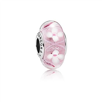 Pandora Field of Flowers Pink Murano Glass Charm 790947