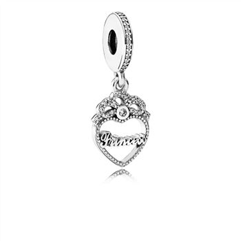 Pandora Princess Crown Heart Dangle Charm, Clear CZ 791962CZ
