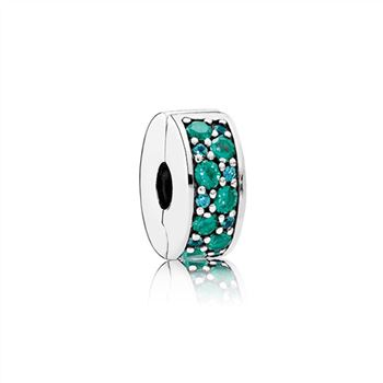 Pandora Mosaic Shining Elegance Clip, Multi-Colored Crystals & Teal CZ 791817MCZMX