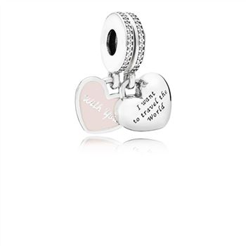 Pandora Travel Together Forever Dangle Charm, Pink Enamel & Clear CZ 791717CZ