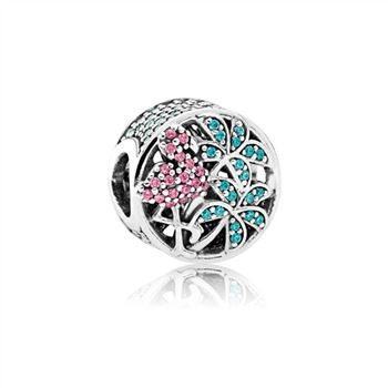 Pandora Tropical Flamingo, Light Green Crystals & Multi-Colored CZ 792117CZS